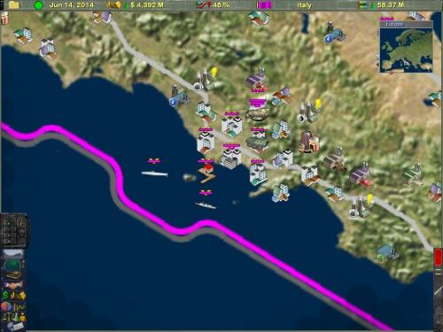 Il golfo di Napoli con unità navali al largo