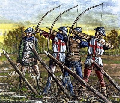 Arcieri inglesi armati di arco lungo