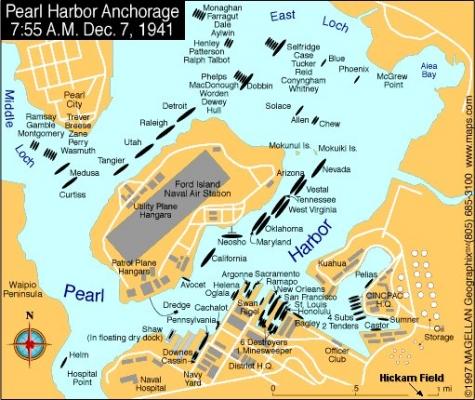 Situazione a Pearl Harbour la mattina del 7 dicembre 1941