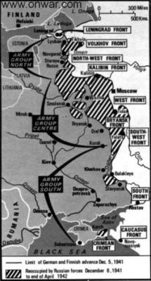 La mappa delle operazioni delle offensive sovietiche invernali.