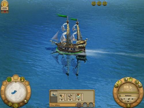 La mia piccola nave inizia la sua esplorazione (notare il riflesso della nave sull'acqua)