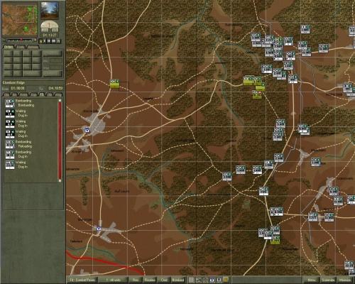 L'inizio dello scenario Elsenborn Ridge, che ho usato per la sessione di screenshots; questa è la zona a Nord-Est della mappa di gioco.