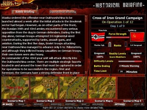 Il briefing della missione e in basso le mappe su cui si svolge l'operazione