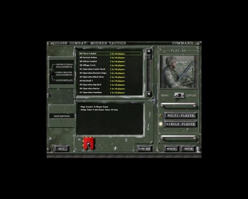 """Selezionando """"Command"""" passerete alla schermata di selezione degli scenari"""