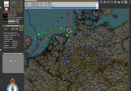 I miei bombardieri sono su Wilhelmshaven e la caccia notturna tedesca si stà dirigendo su di essi. Sopra Emden il cielo è sgombro.
