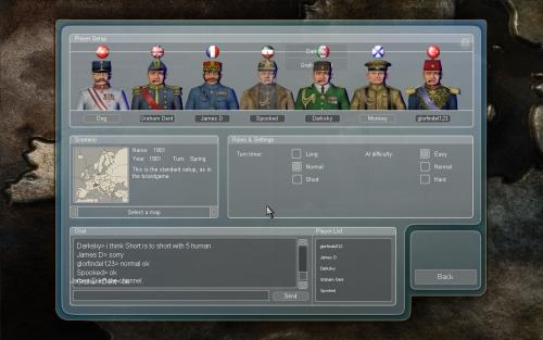 Fase di preparazione di una partita online con altri 4 giocatori umani