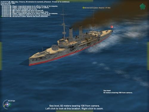 L' incrociatore corazzato Asama sta per essere colpito da un siluro...
