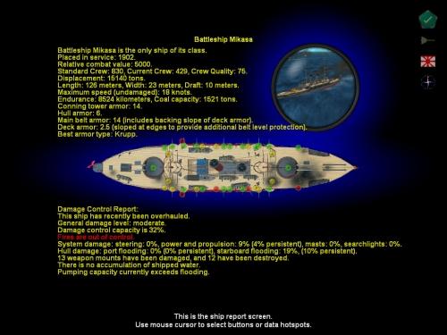 La nave da guerra Mikasa in dettaglio