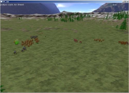 Una battaglia: notate le truppe lillipuziane nello sconfinato paesaggio...