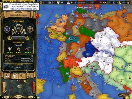 La frammentazione dell'Europa centrale, nella mappa politica del gioco.