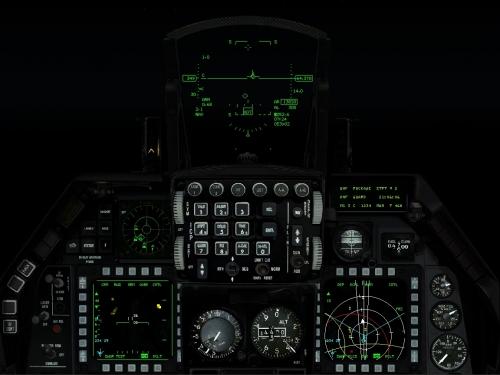 La strumentazione illuminata per il volo notturno.