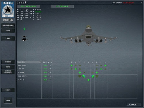 Schermata per la selezione dell'armamento