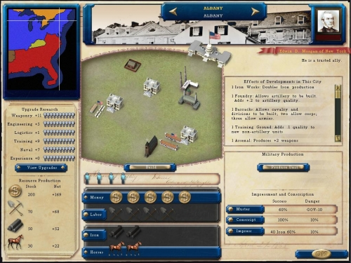 Schermata di produzione delle città