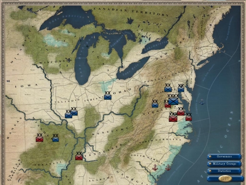 Schermata di disposizione strategica degli eserciti