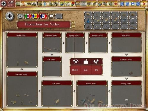 La schermata di produzione con le unità che saranno prodotte nei vari turni.