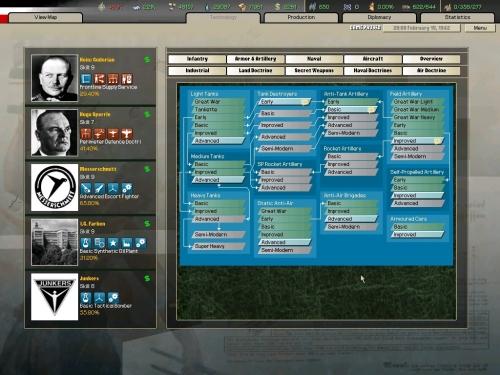 Il pannello di accesso alle opzioni di ricerca 'Armor & Artillery'.