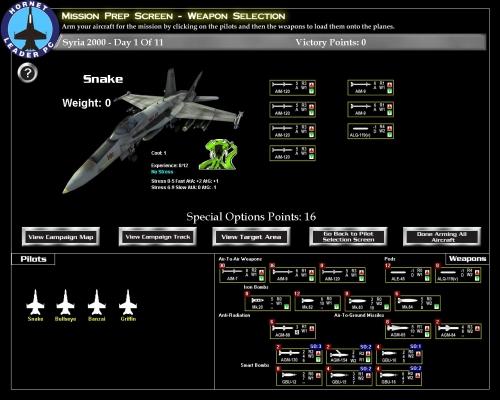 """E' il momento di armare gli aerei! In basso a destra l'arsenale a disposizione. Alcune armi richiedono dei punti """"special operations"""", limitati nella campagna: un paio di bombe a guida laser dovrebbero fare al caso nostro."""