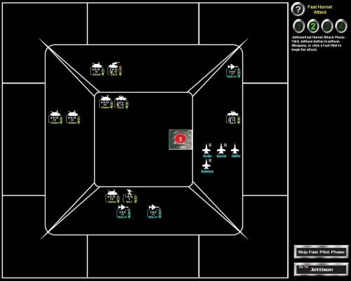 """Il movimento dei banditi era più """"furbo"""" nel gioco da tavola: uno dei MiG-21 assurdamente si allontana dagli Hornet, e avendo raggio 0 (il numero a destra dell'icona) perde ogni possibilità offensiva..."""