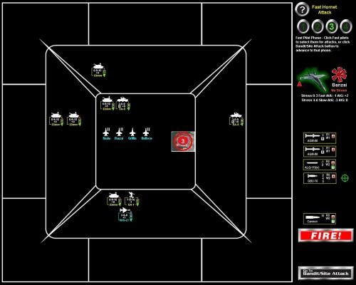 Siamo sul bersaglio! Stiamo per sganciare la prima bomba a guida laser... i numeri 2, 4 e 5 sulla bomba indicano il tiro di dado minimo per fare rispettivamente uno, due o tre danni al bersaglio, e Banzai ha un bonus di 2.