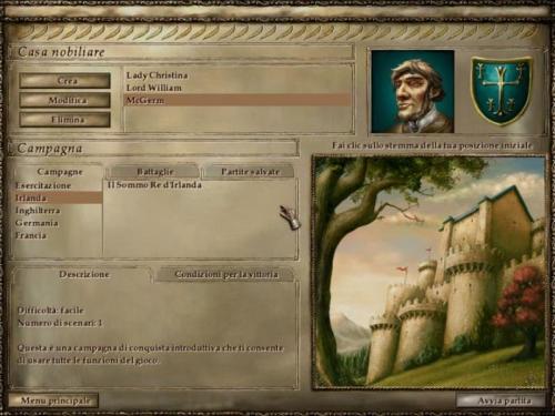 La schermata iniziale, da qui dovrete decidere: campagna o semplice battaglia (sx).