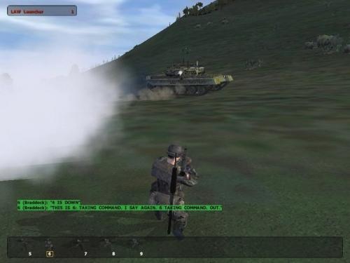 La fine: la mia squadra è stata annientata e questo T-80 sta per aprire il fuoco su di me. Notare la visuale in terza persona disponibile nel gioco.