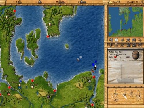 La mappa del gioco. Accanto a ogni città, la merce richiesta in quel momento