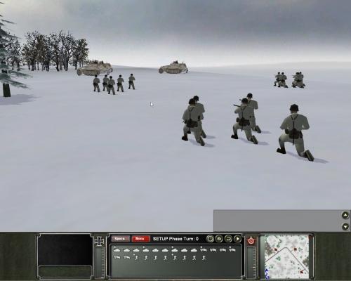 truppe tedesche in mimetica da neve. Buona resa grafica per essere un wargame, non trovate? Peccato per le animazioni, di mediocre qualità