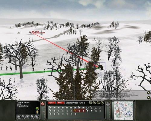 Un cannone anticarro sovietico nascosto fra gli alberi tenta di sorprendere un Panzer tedesco