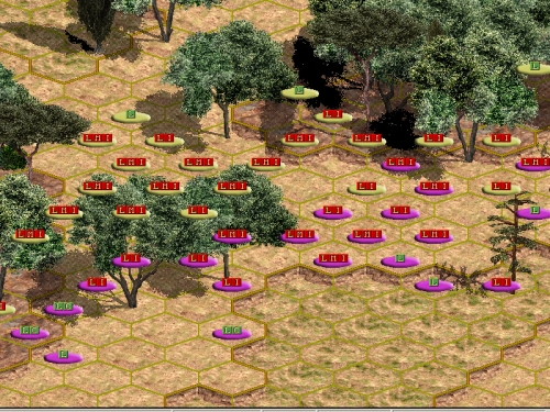 """Ecco come visualizzare quali tipi di unità si stanno fronteggiando. Peccato per l'assenza delle miniature: l'assalto di cavalleria romana nel bosco sul fianco sinistro ricorderebbe le scene di battaglia campale del film """"Il gladiatore""""!!"""