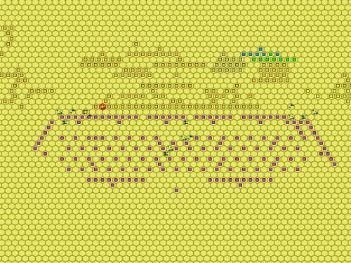 BUG!! la partita e' finita proprio al primo contatto. Da notare ai fianchi i nugoli di cavalleria cartaginese pronti all'accerchiamento.