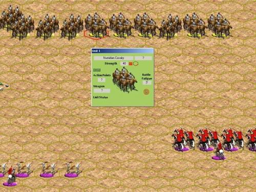 """ECCOLA, la più temuta delle cavallerie! Per fortuna di Roma non ha avuto il tempo di schierasi per il combattimento (e' ancora in colonna) e ora e' troppo vicina al nemico per schierarsi in linea. I romani invece sono schierati a """"cuneo""""."""