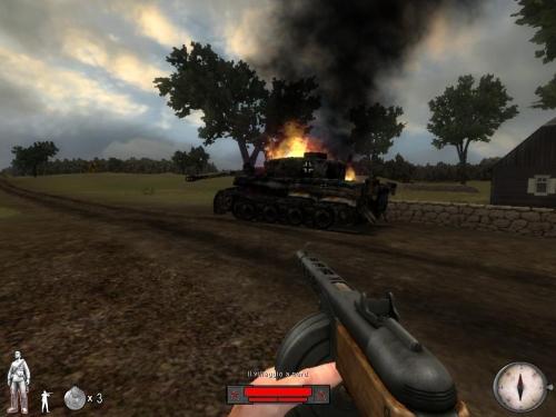 Carro Tigre in fiamme
