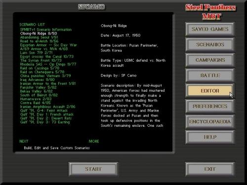 Ecco la schermata principale con alcuni degli scenari disponibili
