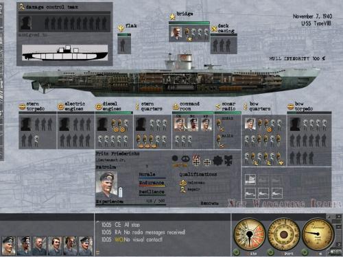 La schermata di gestione dell'equipaggio e dei danni