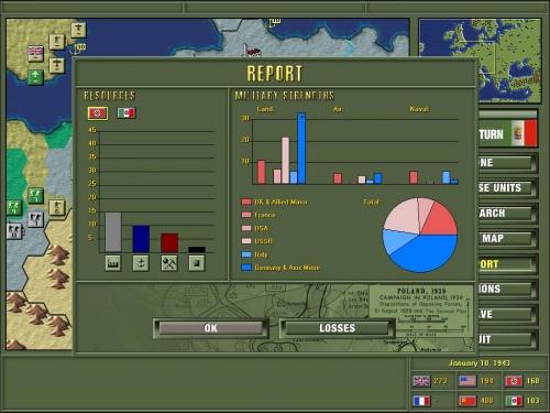Il menu del rapporto sulle risorse e sul potenziale bellico delle varie nazioni abbellito dalla nuova grafica