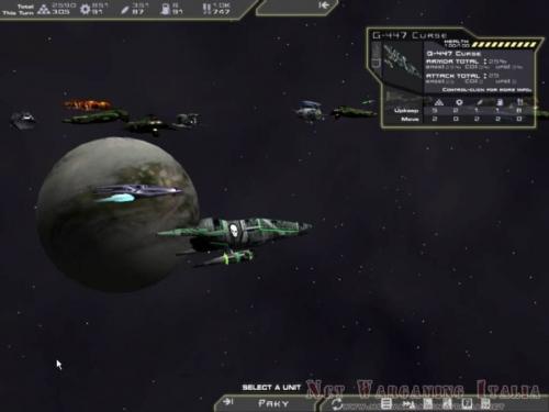 Visione laterale della flotta in orbita attorno ad un pianeta. L'incrociatore in primo piano ha la possibilità di lanciare un attacco biologico contro navi da trasporto.