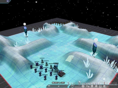 Schieramento iniziale su una piccola mappa di un mondo ghiacciato.