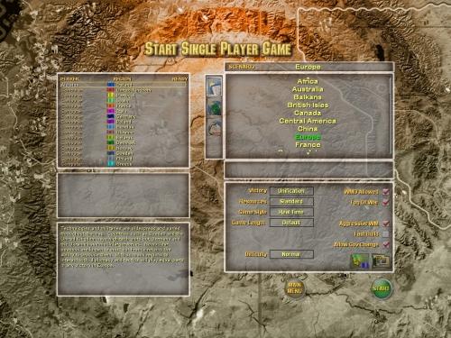 Schermata di scelta dello scenario e settaggio dei vari parametri di difficoltà/vittoria.