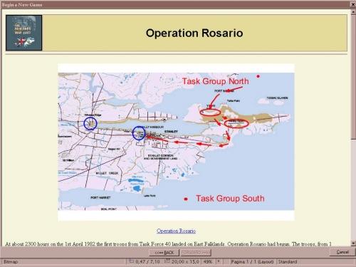 Uno dei tanti dettagliati briefing a corredo degli scenari storici, completi di ordini di battaglia, mappe e resoconto dell'esito.
