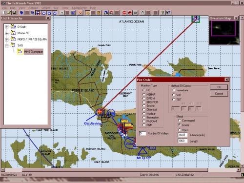 Anche la Royal Navy ha il suo momento: stiamo dando istruzioni al cacciatorpediniere HMS Glamorgan per eseguire il tiro controcosta con i suoi pezzi da 114mm. Come si può notare il dialog box per il fuoco indiretto è particolareggiato e completo.