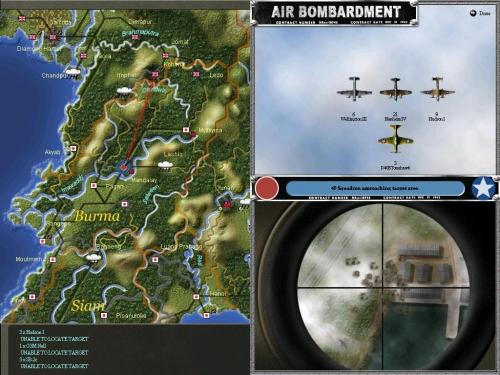 Una squadra di bombardieri Alleati, con la scorta di caccia, bombarda una base giapponese