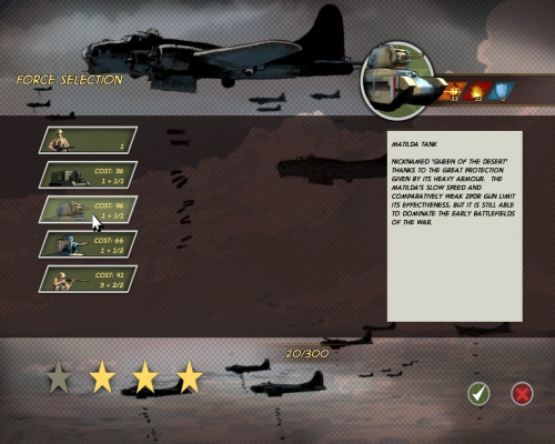 Schermata di selezione delle forze per la prossima missione; le stelle in basso sono obiettivi secondari.