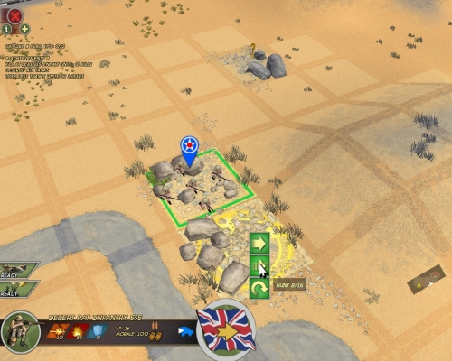Sto dando ordine a questa squadra di fanteria di muoversi cautamente nel riquadro adiacente; si noti il menu attivato col tasto destro del mouse.