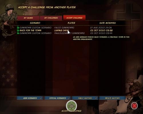La schermata da cui è possibile selezionare nuove sfide.