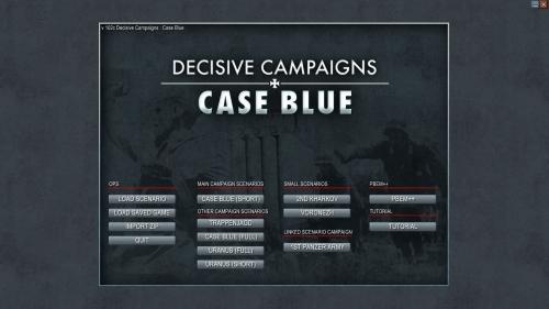 la schermata introduttiva del gioco, con l'elenco degli scenari selezionabili
