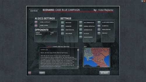 le opzioni selezionabili per la campagna più grande, Case Blue (Full)