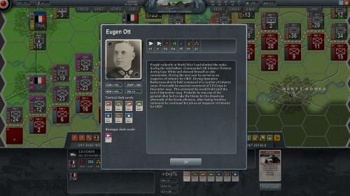 descrizione di un comandante di un HQ tedesco, notate le caratteristiche e le carte azione disponibili sulla sinistra.