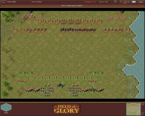 Il campo di battaglia con lo schieramento