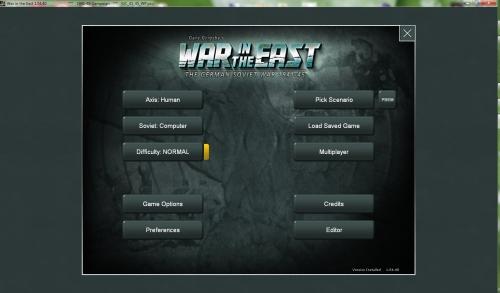 il menu iniziale del gioco, con in evidenza le opzioni principali, fra cui la scelta della fazione e dello scenario.