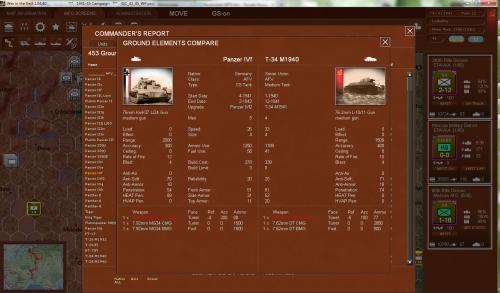 il gioco offre un notevole dettaglio, con combattimenti risolti a livello di singoli elementi che compongono l'unità. Qui un confronto fra un Panzer IVf e un T-34 M1940.